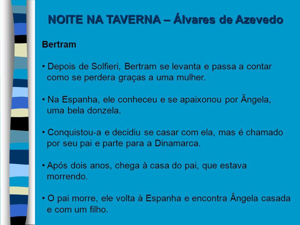 NOITE NA TAVERNA – Álvares de Azevedo Bertram Depois de Solfieri, Bertram se levanta e passa a contar como se perdera graças a uma mulher. Na Espanha,