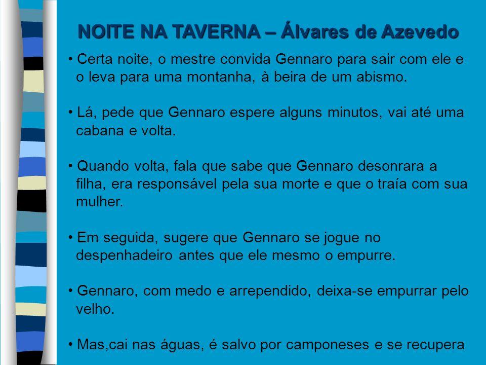 NOITE NA TAVERNA – Álvares de Azevedo Certa noite, o mestre convida Gennaro para sair com ele e o leva para uma montanha, à beira de um abismo. Lá, pe
