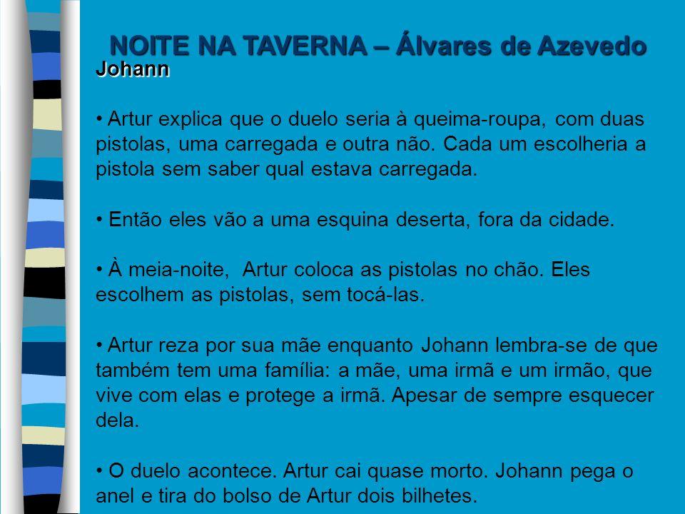 NOITE NA TAVERNA – Álvares de Azevedo Johann Artur explica que o duelo seria à queima-roupa, com duas pistolas, uma carregada e outra não. Cada um esc