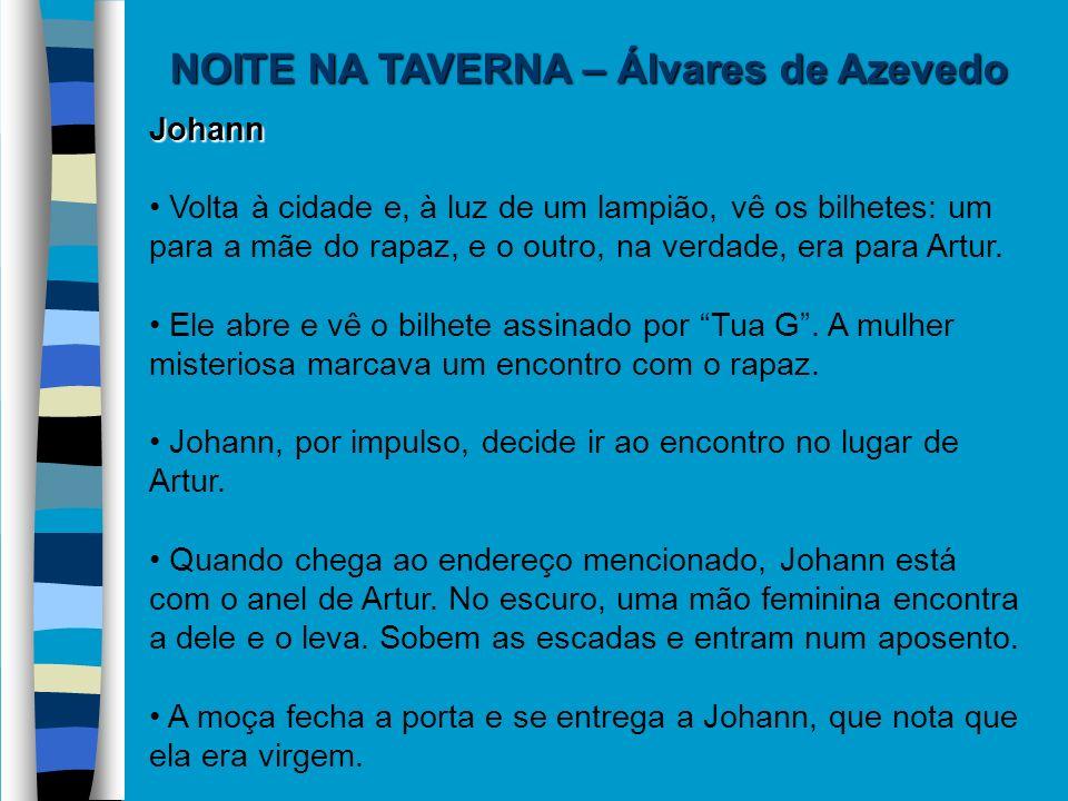 NOITE NA TAVERNA – Álvares de Azevedo Johann Volta à cidade e, à luz de um lampião, vê os bilhetes: um para a mãe do rapaz, e o outro, na verdade, era