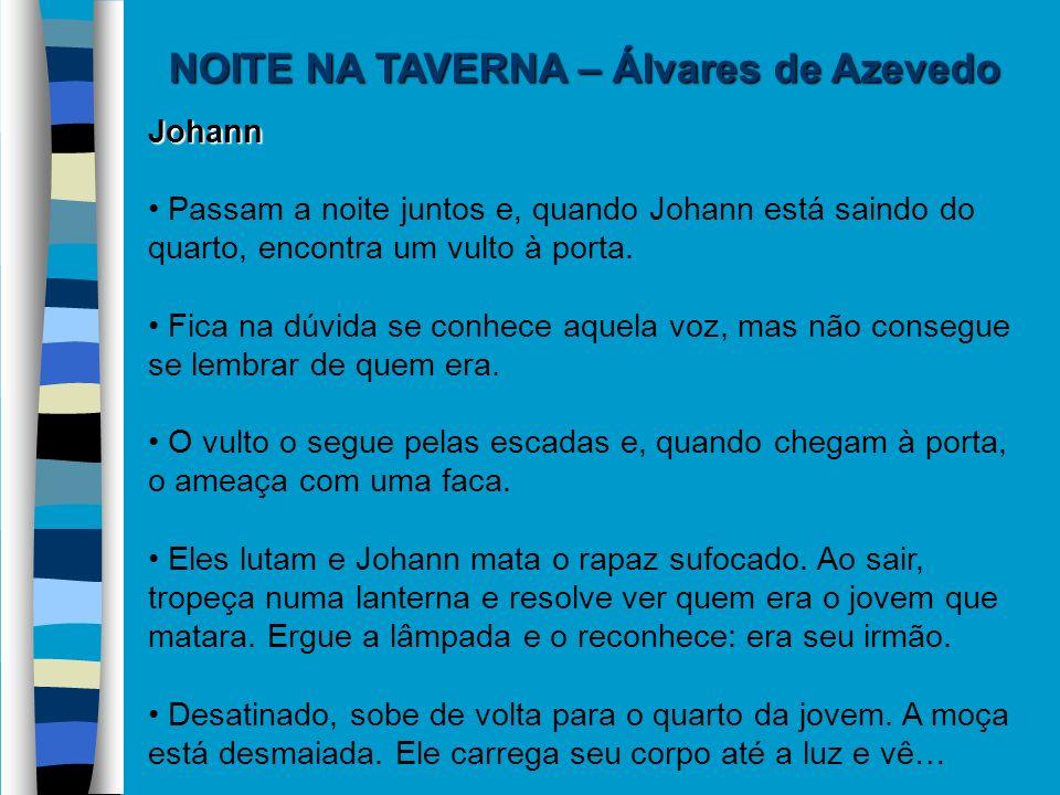 NOITE NA TAVERNA – Álvares de Azevedo Johann Passam a noite juntos e, quando Johann está saindo do quarto, encontra um vulto à porta. Fica na dúvida s