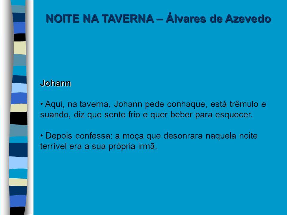 NOITE NA TAVERNA – Álvares de Azevedo Johann Aqui, na taverna, Johann pede conhaque, está trêmulo e suando, diz que sente frio e quer beber para esque