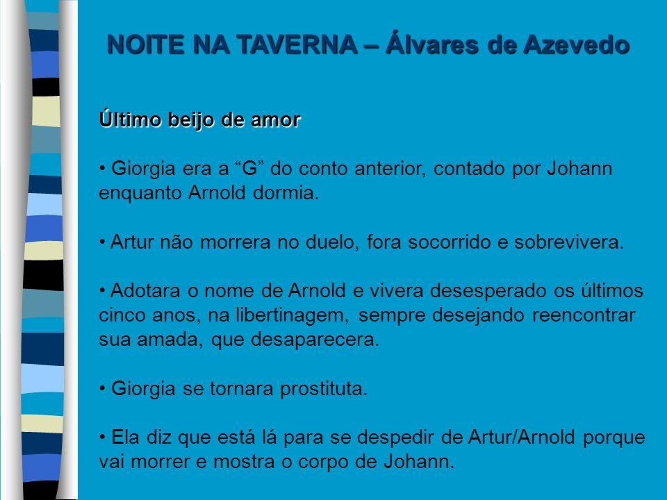 NOITE NA TAVERNA – Álvares de Azevedo Último beijo de amor Giorgia era a G do conto anterior, contado por Johann enquanto Arnold dormia. Artur não mor