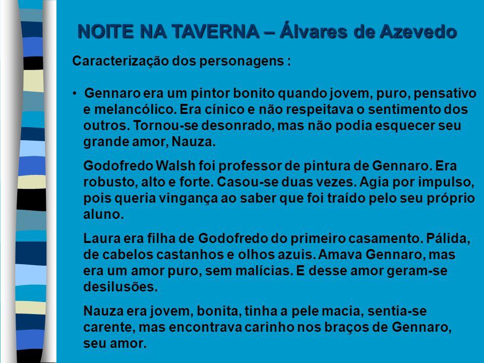 NOITE NA TAVERNA – Álvares de Azevedo Caracterização dos personagens : Gennaro era um pintor bonito quando jovem, puro, pensativo e melancólico. Era c
