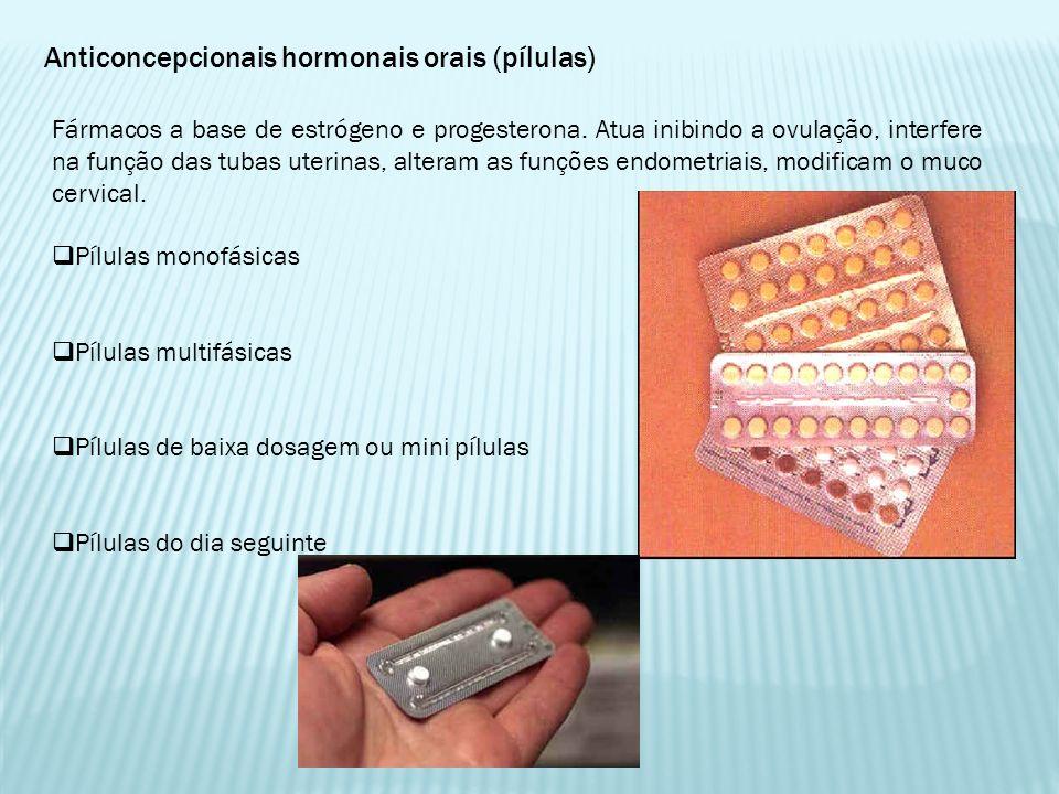 Anticoncepcionais hormonais orais (pílulas) Fármacos a base de estrógeno e progesterona. Atua inibindo a ovulação, interfere na função das tubas uteri