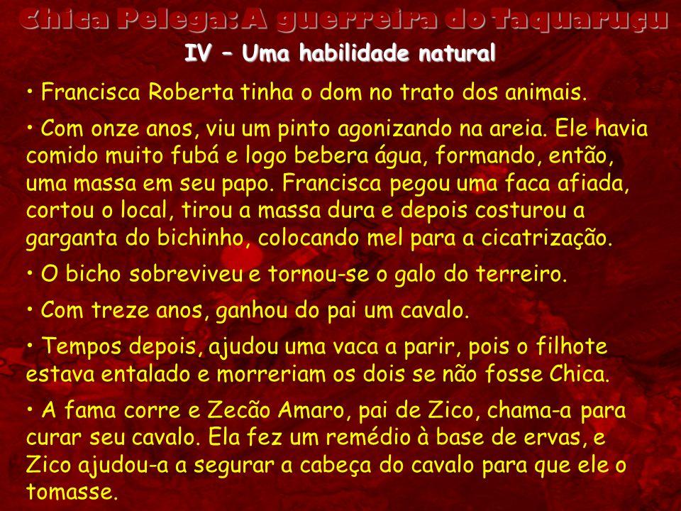 Chica Pelega: A guerreira do Taquaruçu IV – Uma habilidade natural Francisca Roberta tinha o dom no trato dos animais. Com onze anos, viu um pinto ago