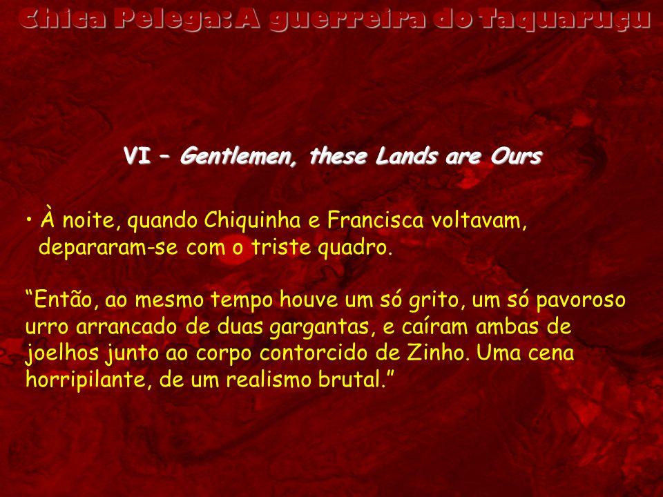 VI – Gentlemen, these Lands are Ours À noite, quando Chiquinha e Francisca voltavam, depararam-se com o triste quadro. Então, ao mesmo tempo houve um