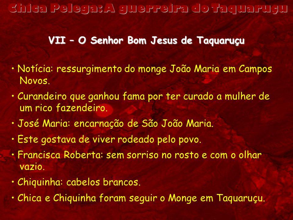 VII – O Senhor Bom Jesus de Taquaruçu Notícia: ressurgimento do monge João Maria em Campos Novos. Curandeiro que ganhou fama por ter curado a mulher d