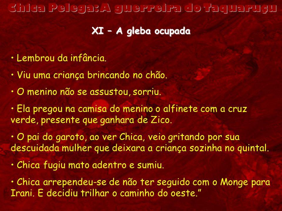Chica Pelega: A guerreira do Taquaruçu XI – A gleba ocupada Lembrou da infância. Viu uma criança brincando no chão. O menino não se assustou, sorriu.