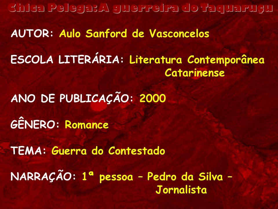 AUTOR: Aulo Sanford de Vasconcelos ESCOLA LITERÁRIA: Literatura Contemporânea Catarinense ANO DE PUBLICAÇÃO: 2000 GÊNERO: Romance TEMA: Guerra do Cont