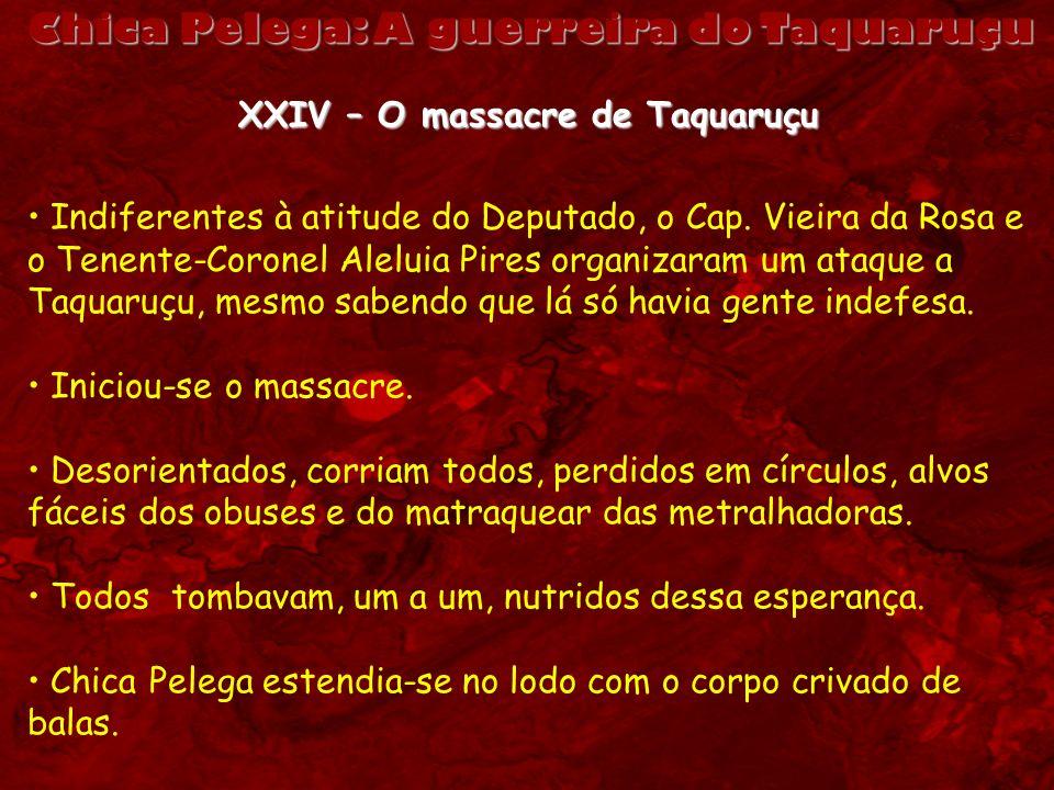 Chica Pelega: A guerreira do Taquaruçu XXIV – O massacre de Taquaruçu Indiferentes à atitude do Deputado, o Cap. Vieira da Rosa e o Tenente-Coronel Al