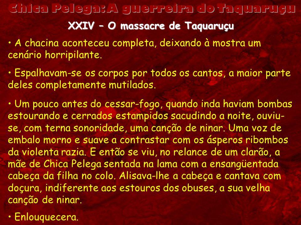 XXIV – O massacre de Taquaruçu A chacina aconteceu completa, deixando à mostra um cenário horripilante. Espalhavam-se os corpos por todos os cantos, a