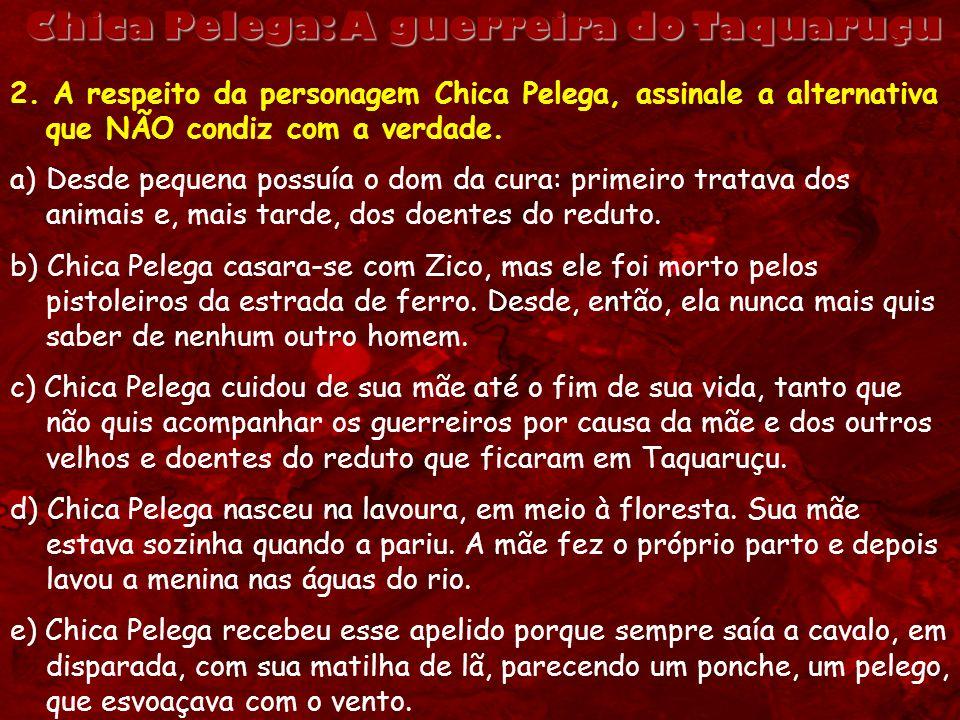 Chica Pelega: A guerreira do Taquaruçu 2. A respeito da personagem Chica Pelega, assinale a alternativa que NÃO condiz com a verdade. a)Desde pequena