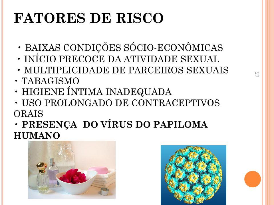 29 FATORES DE RISCO BAIXAS CONDIÇÕES SÓCIO-ECONÔMICAS INÍCIO PRECOCE DA ATIVIDADE SEXUAL MULTIPLICIDADE DE PARCEIROS SEXUAIS TABAGISMO HIGIENE ÍNTIMA