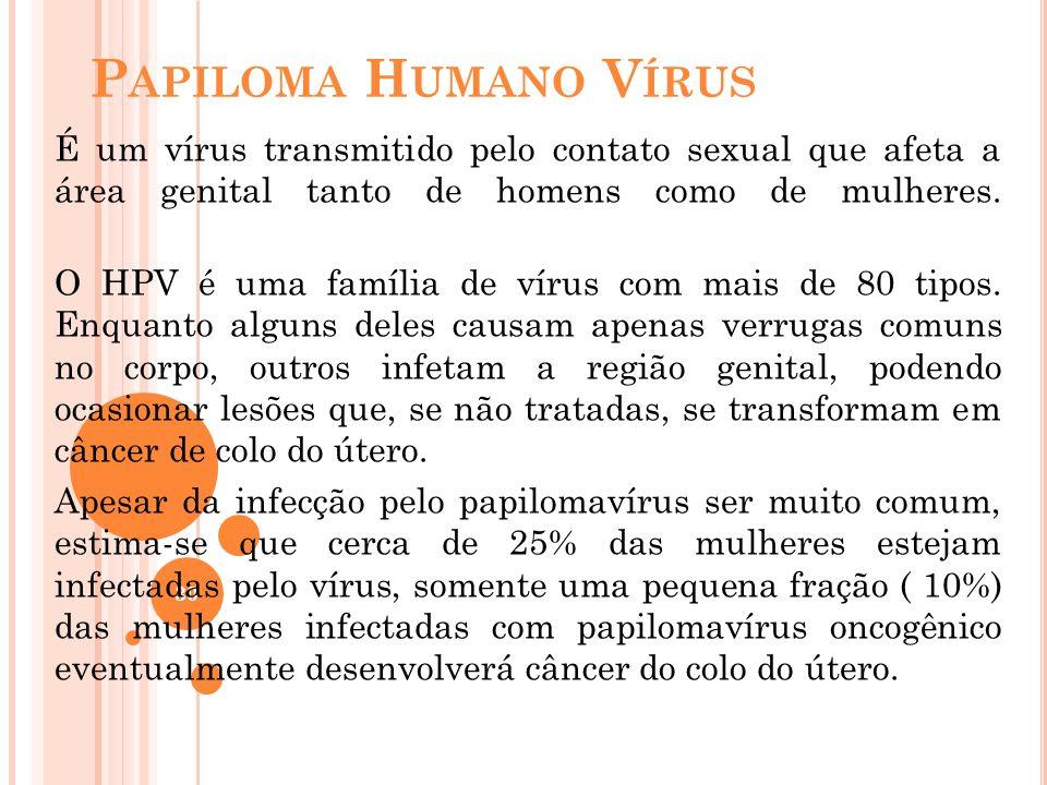 30 P APILOMA H UMANO V ÍRUS É um vírus transmitido pelo contato sexual que afeta a área genital tanto de homens como de mulheres. O HPV é uma família