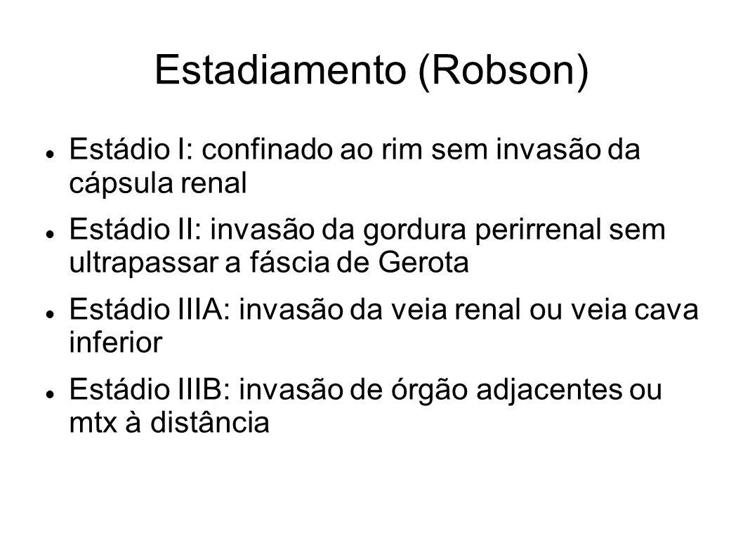 Estadiamento (Robson) Estádio I: confinado ao rim sem invasão da cápsula renal Estádio II: invasão da gordura perirrenal sem ultrapassar a fáscia de G