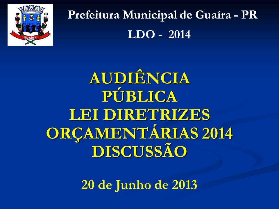 Prefeitura Municipal de Guaíra - PR LDO - 2014 20 de Junho de 2013 AUDIÊNCIA PÚBLICA LEI DIRETRIZES ORÇAMENTÁRIAS 2014 DISCUSSÃO