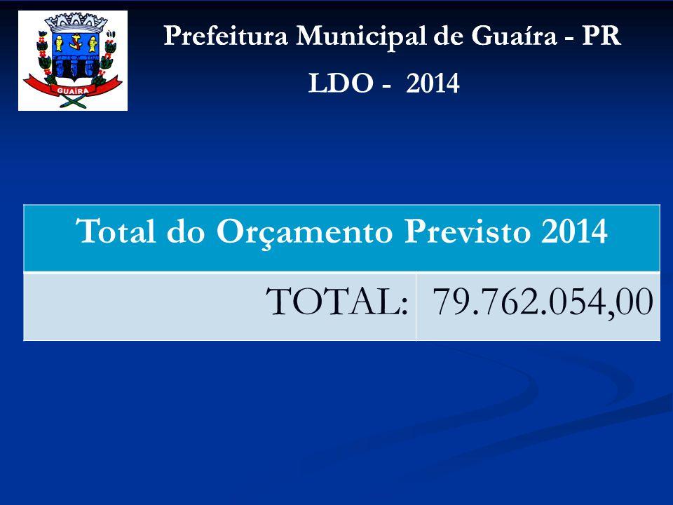 Prefeitura Municipal de Guaíra - PR LDO - 2014 Total do Orçamento Previsto 2014 TOTAL:79.762.054,00
