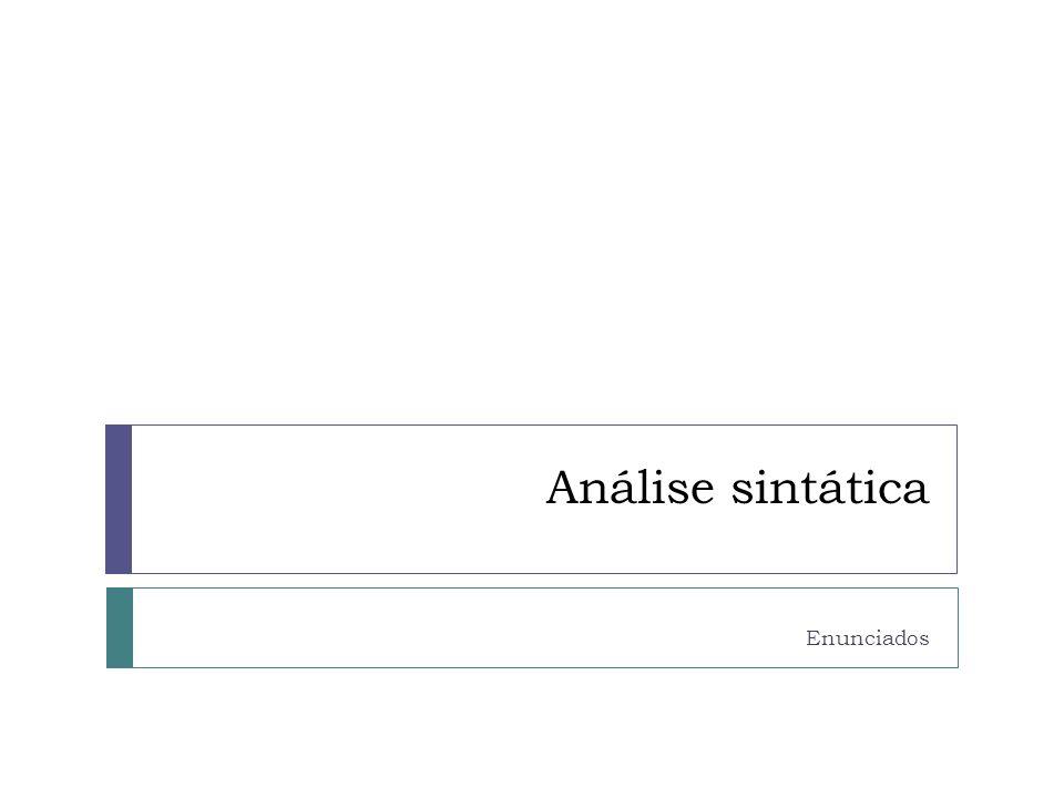Análise sintática Separa os elementos do enunciado em partes Analisa a estrutura do enunciado Examina seus componentes: essenciais/ integrantes e acessórios