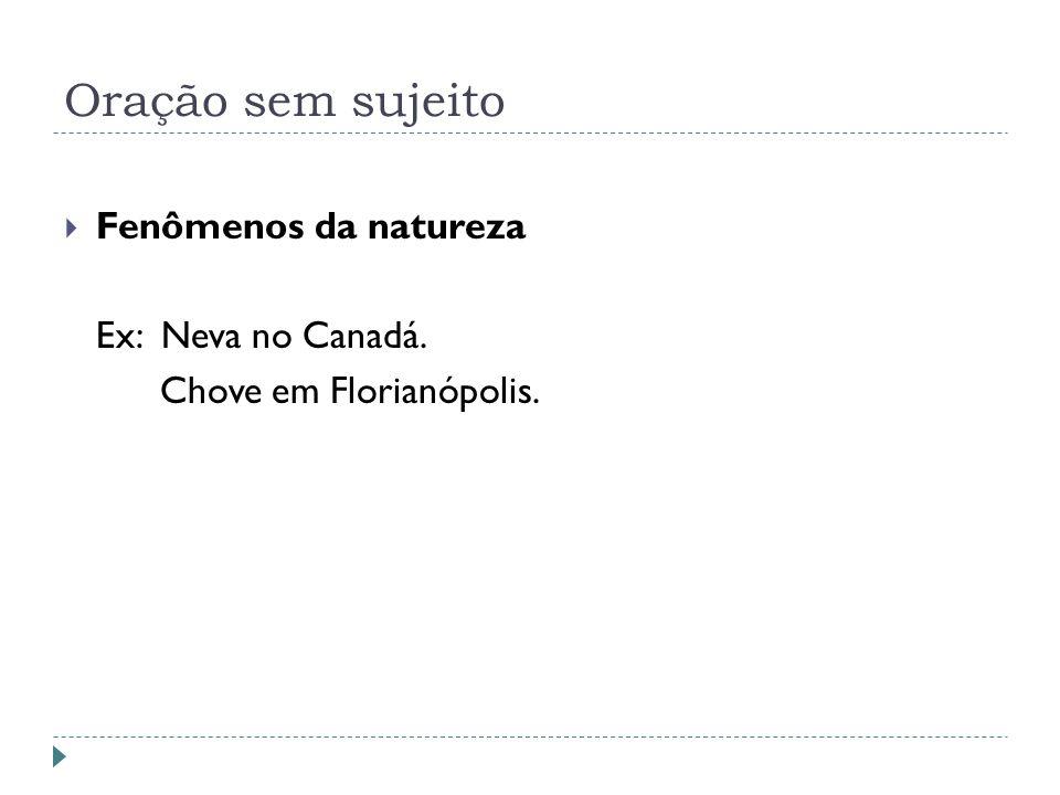 Oração sem sujeito Fenômenos da natureza Ex: Neva no Canadá. Chove em Florianópolis.