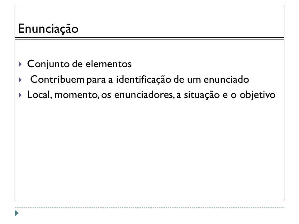 Enunciação Conjunto de elementos Contribuem para a identificação de um enunciado Local, momento, os enunciadores, a situação e o objetivo