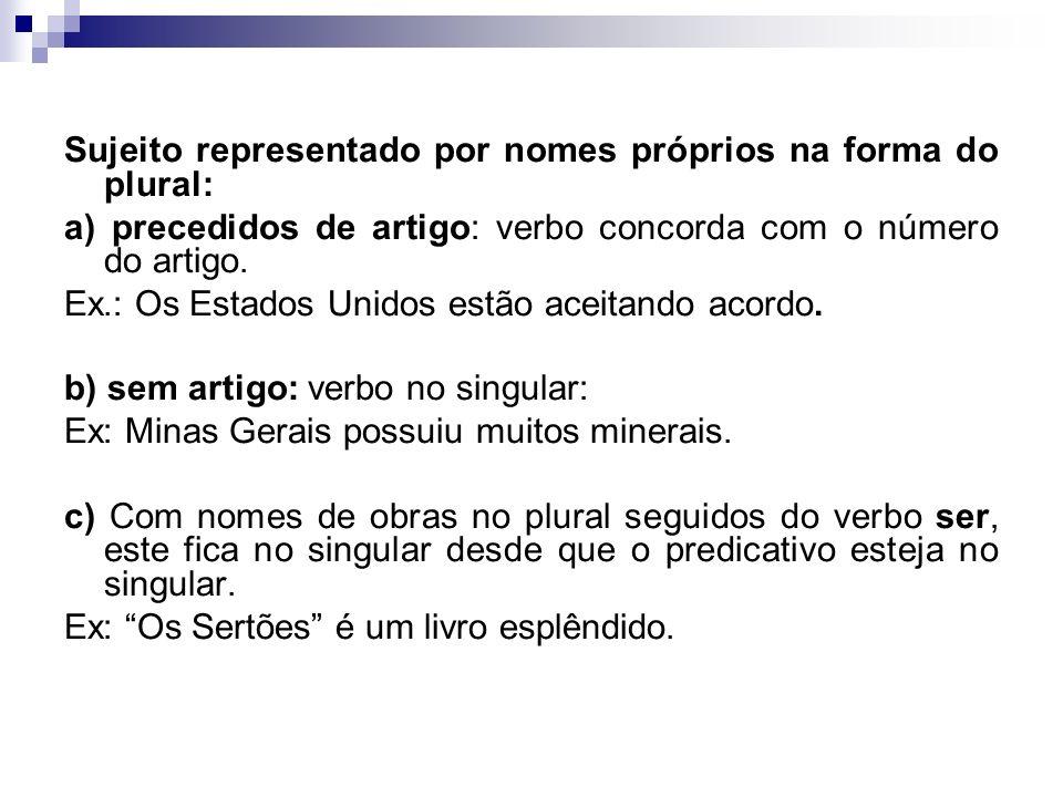 Concordância com pronomes de tratamento = o verbo fica na 3ª pessoa Alguns autores classificam os pronomes de tratamento como sendo pronomes de 3ª pes