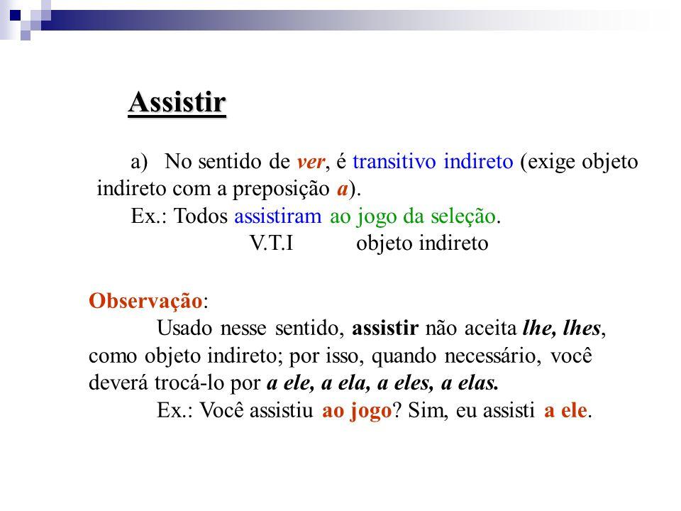 Aspirar a)No sentido de respirar, sorver (perfume, ar), é transitivo direto. b) No sentido de pretender/ desejar, é transitivo indireto (exige objeto