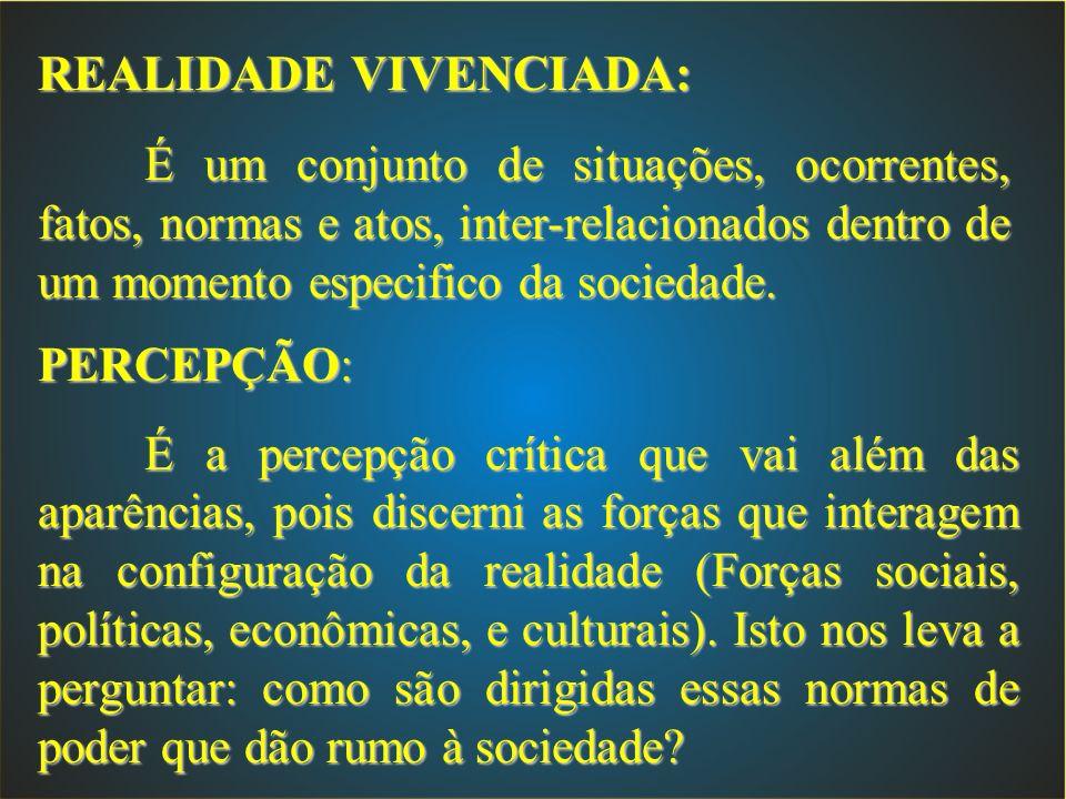 REALIDADE VIVENCIADA: É um conjunto de situações, ocorrentes, fatos, normas e atos, inter-relacionados dentro de um momento especifico da sociedade. P