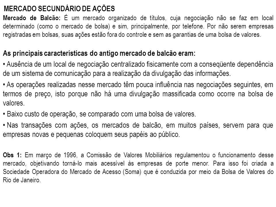 MERCADO SECUNDÁRIO DE AÇÕES Mercado de Balcão: É um mercado organizado de títulos, cuja negociação não se faz em local determinado (como o mercado de
