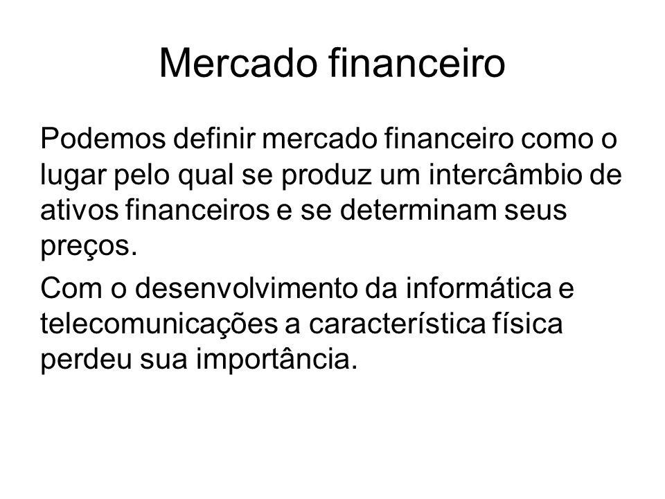 Os mercados financeiros devem cumprir as seguintes funções: Estabelecer o contato entre os agentes superavitários e deficitários; Ser um mecanismo eficiente de fixação de preços para os ativos; proporcionar liquidez aos ativos; e reduzir os prazos e os custos da intermediação.