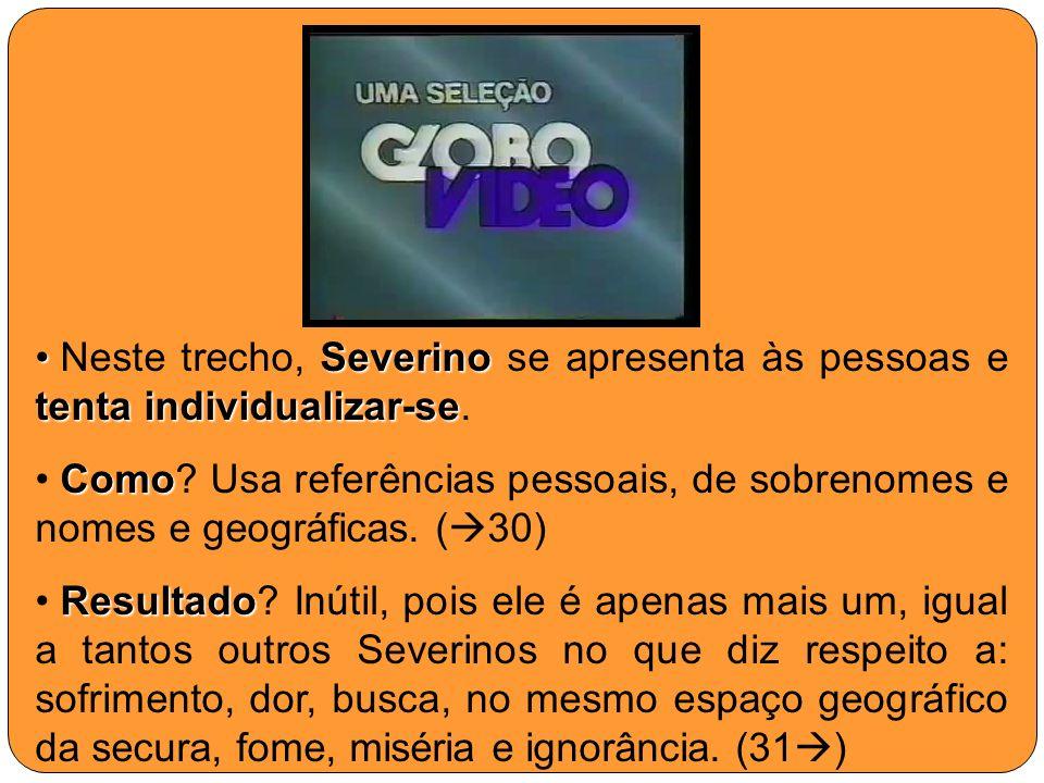 Severino tenta individualizar-se Neste trecho, Severino se apresenta às pessoas e tenta individualizar-se. Como Como? Usa referências pessoais, de sob