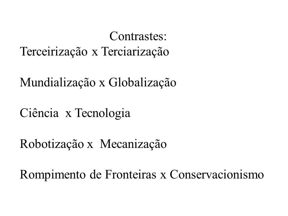Contrastes: Terceirização x Terciarização Mundialização x Globalização Ciência x Tecnologia Robotização x Mecanização Rompimento de Fronteiras x Conse