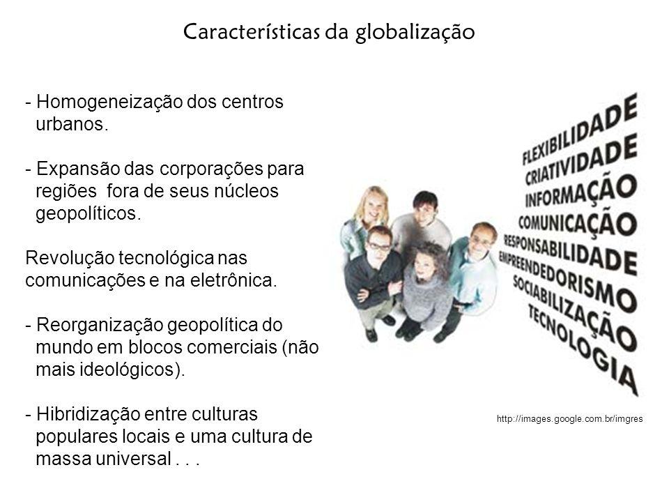 - Homogeneização dos centros urbanos. - Expansão das corporações para regiões fora de seus núcleos geopolíticos. Revolução tecnológica nas comunicaçõe