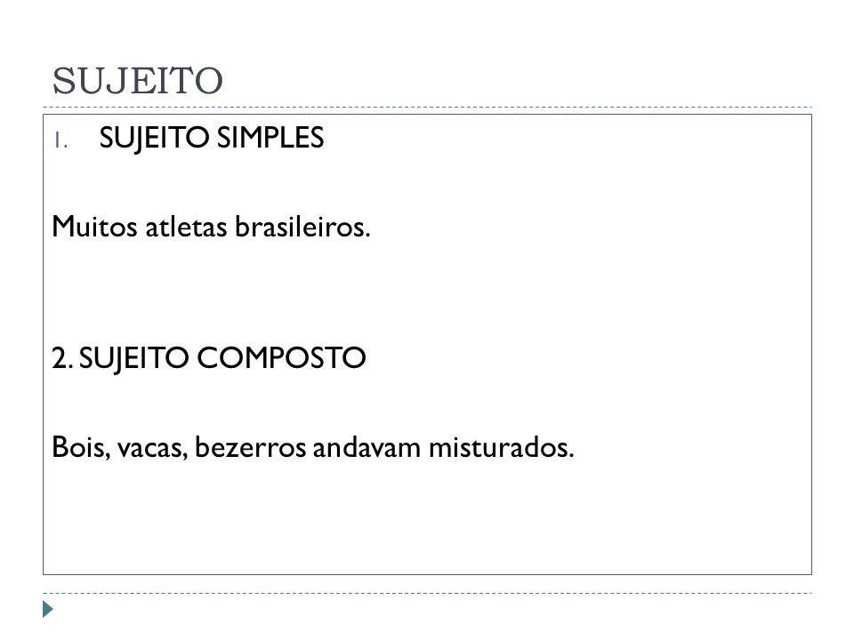 SUJEITO 1.SUJEITO SIMPLES Muitos atletas brasileiros.