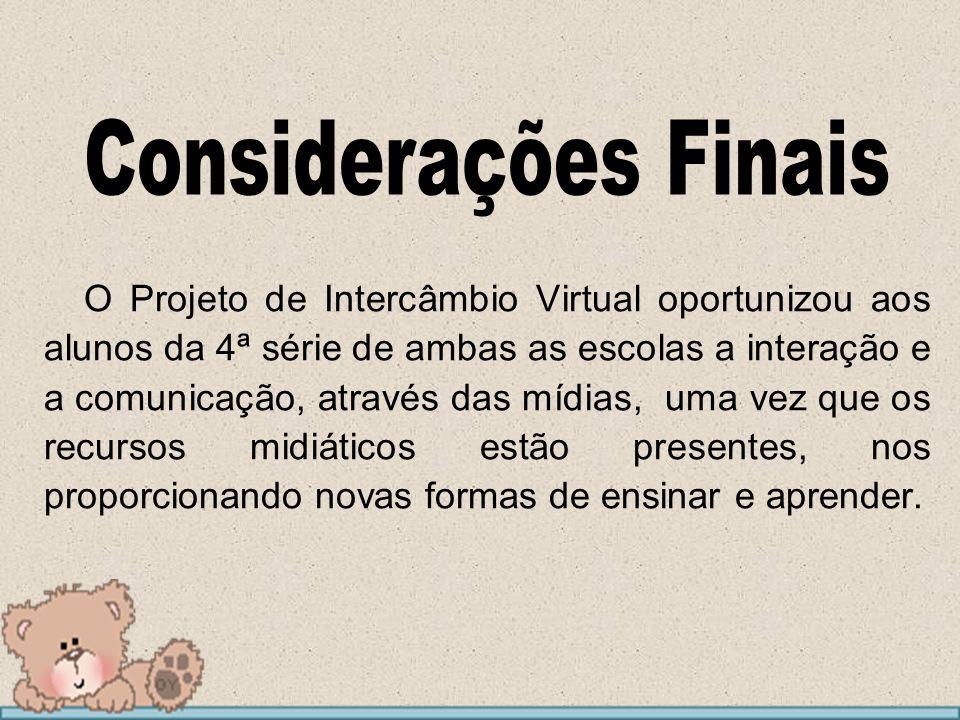 O Projeto de Intercâmbio Virtual oportunizou aos alunos da 4ª série de ambas as escolas a interação e a comunicação, através das mídias, uma vez que o