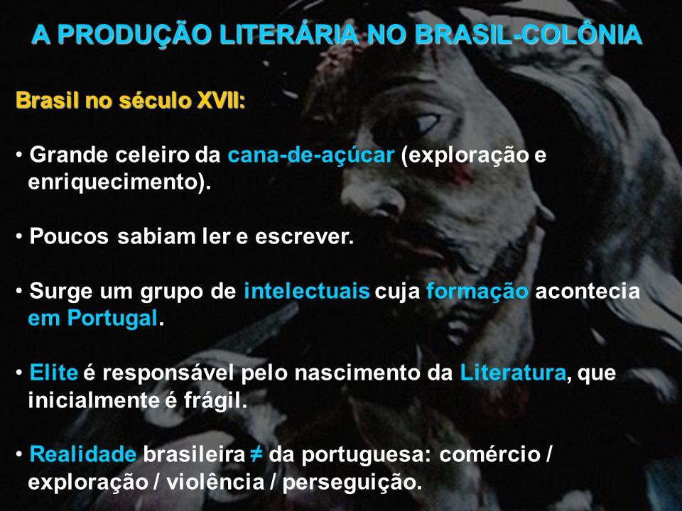 A PRODUÇÃO LITERÁRIA NO BRASIL-COLÔNIA Brasil no século XVII: Grande celeiro da cana-de-açúcar (exploração e enriquecimento). Poucos sabiam ler e escr