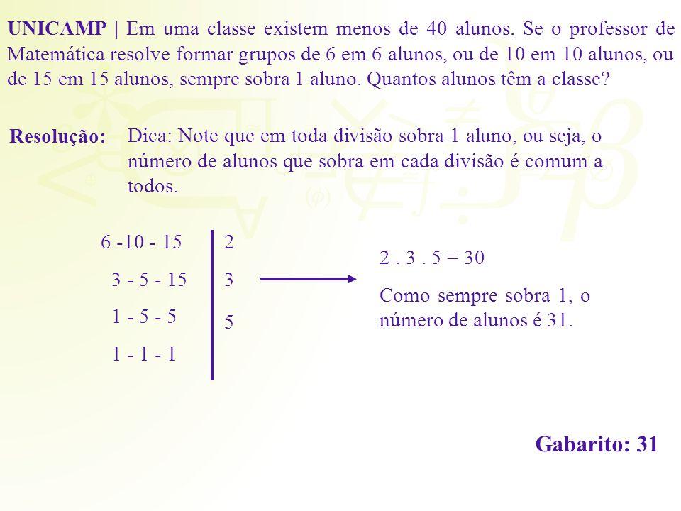 Resolução: UNICAMP | Em uma classe existem menos de 40 alunos. Se o professor de Matemática resolve formar grupos de 6 em 6 alunos, ou de 10 em 10 alu