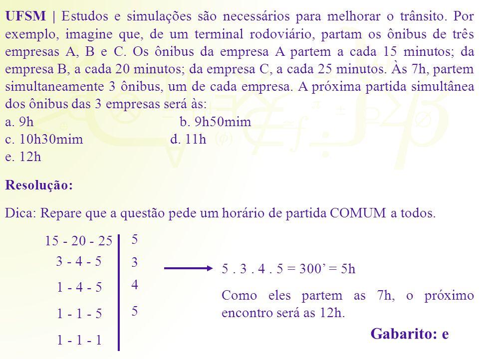 Resolução: Dica: Repare que a questão pede um horário de partida COMUM a todos. 15 - 20 - 25 3 - 4 - 5 1 - 4 - 5 1 - 1 - 5 1 - 1 - 1 5 3 4 5 5. 3. 4.