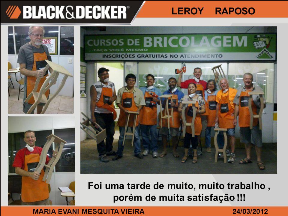 MARIA EVANI MESQUITA VIEIRA24/03/2012 LEROY RAPOSO Foi uma tarde de muito, muito trabalho, porém de muita satisfação !!!