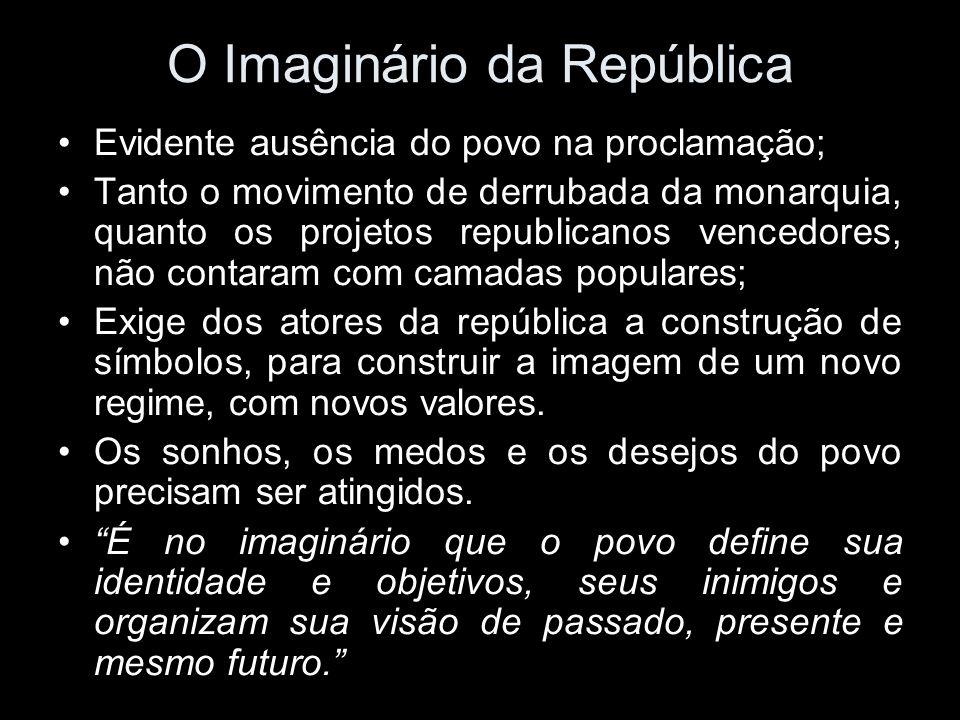 O Imaginário da República Evidente ausência do povo na proclamação; Tanto o movimento de derrubada da monarquia, quanto os projetos republicanos vence
