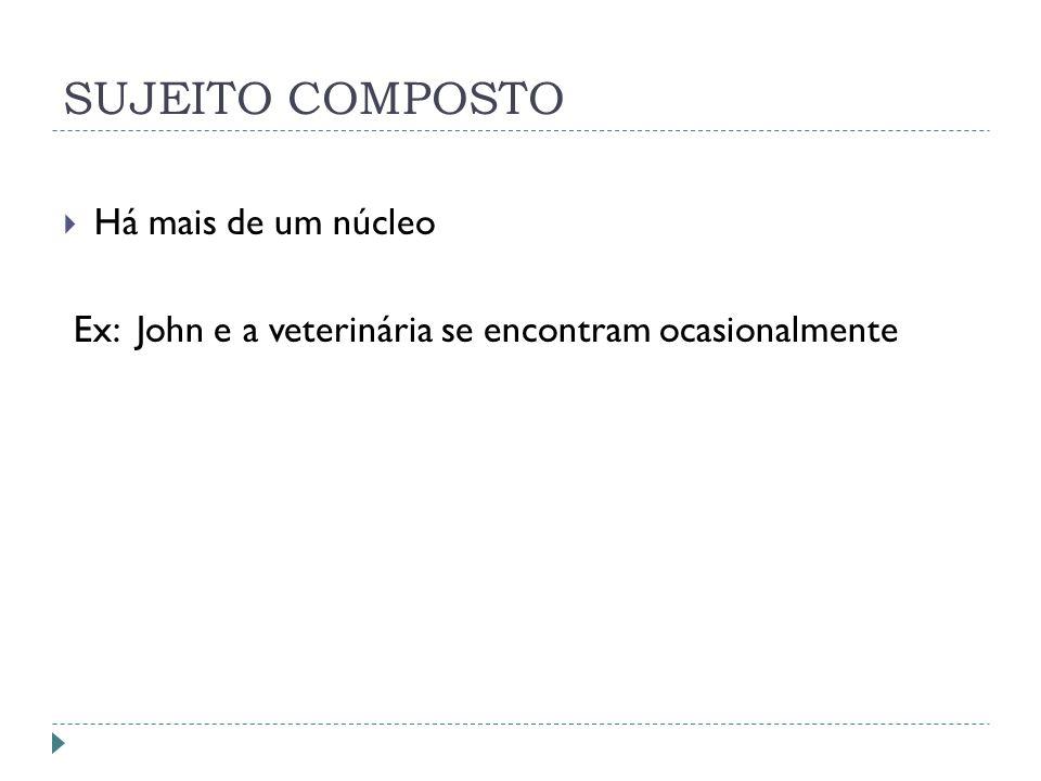 SUJEITO COMPOSTO Há mais de um núcleo Ex: John e a veterinária se encontram ocasionalmente