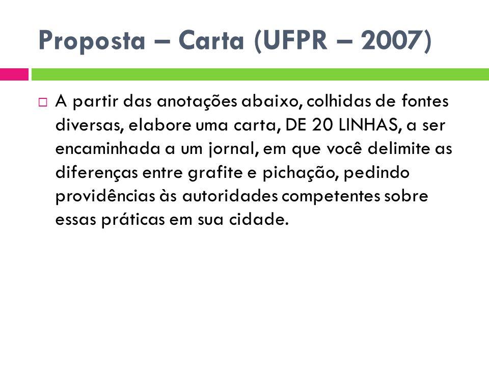 Proposta – Carta (UFPR – 2007) A partir das anotações abaixo, colhidas de fontes diversas, elabore uma carta, DE 20 LINHAS, a ser encaminhada a um jor