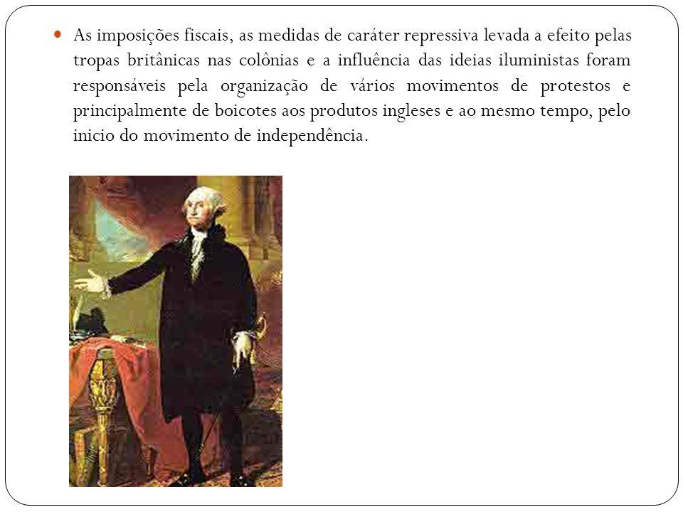 As imposições fiscais, as medidas de caráter repressiva levada a efeito pelas tropas britânicas nas colônias e a influência das ideias iluministas for