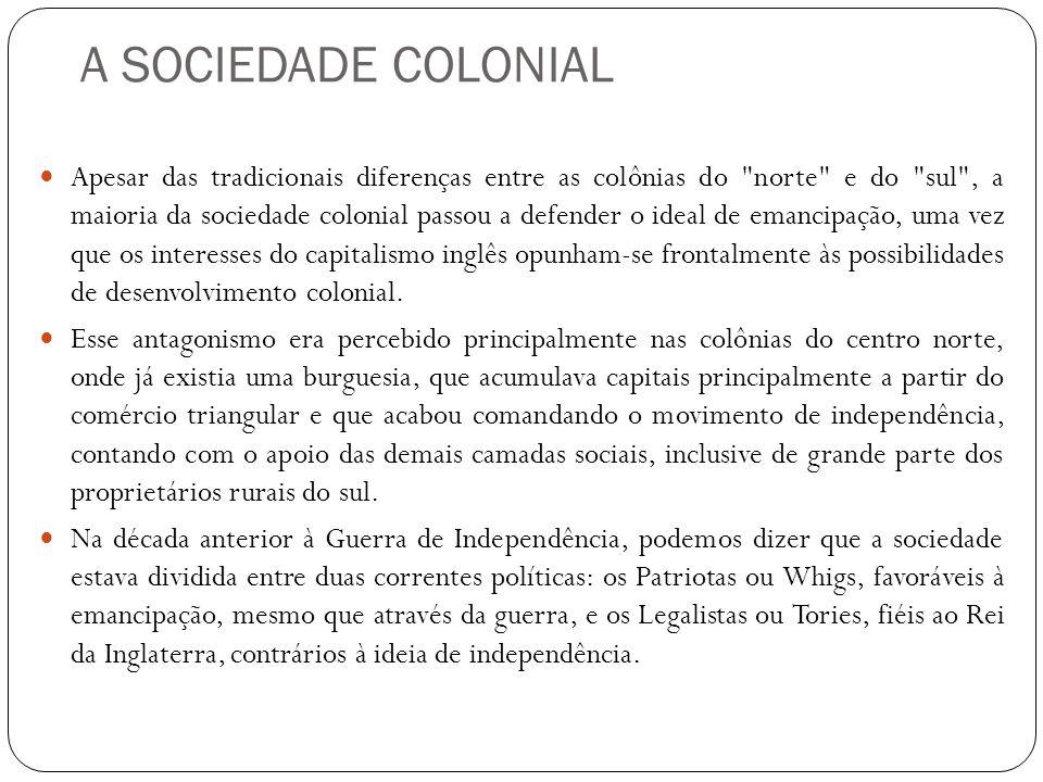 A SOCIEDADE COLONIAL Apesar das tradicionais diferenças entre as colônias do
