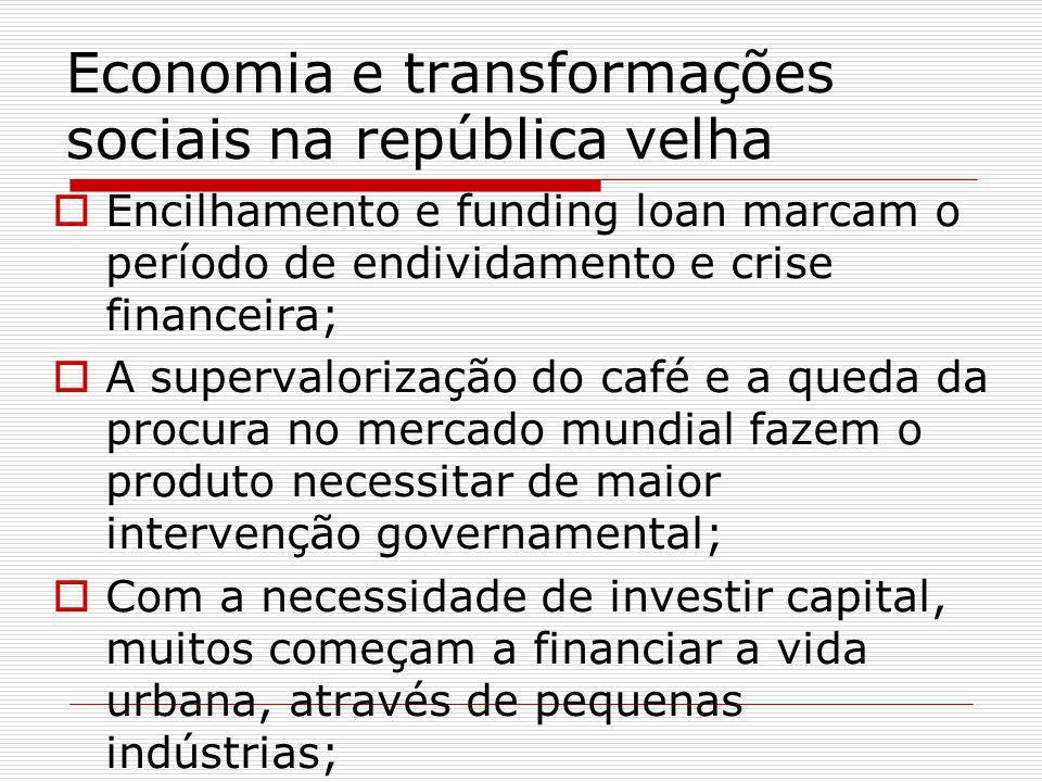 Economia e transformações sociais na república velha Encilhamento e funding loan marcam o período de endividamento e crise financeira; A supervaloriza