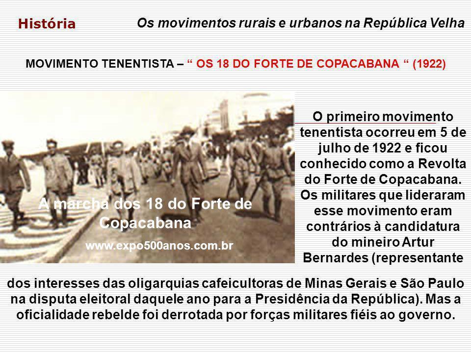 História Os movimentos rurais e urbanos na República Velha MOVIMENTO TENENTISTA – OS 18 DO FORTE DE COPACABANA (1922) A marcha dos 18 do Forte de Copa