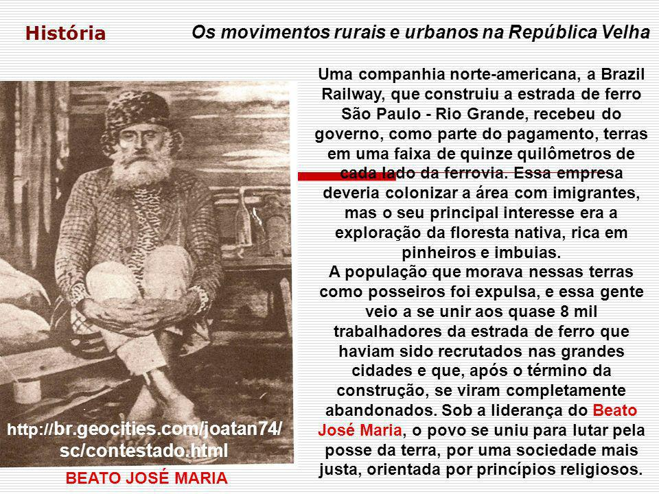 História Os movimentos rurais e urbanos na República Velha CANGAÇO REVOLTA DA CHIBATA REVOLTA DA VACINA OS 18 DO FORTE DE COPACABANA COLUNA PRESTES CANUDOS CONTESTADO REPÚBLICA VELHA APONTE AS SEMELHANÇAS ENTRE OS MOVIMENTOS RURAIS E URBANOS QUE FAZEM PARTE DA ATUAL REALIDADE BRASILEIRA E OS OCORRIDOS DURANTE A REPÚBLICA VELHA.