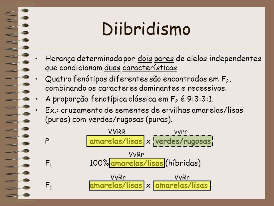 Diibridismo Herança determinada por dois pares de alelos independentes que condicionam duas características. Quatro fenótipos diferentes são encontrad