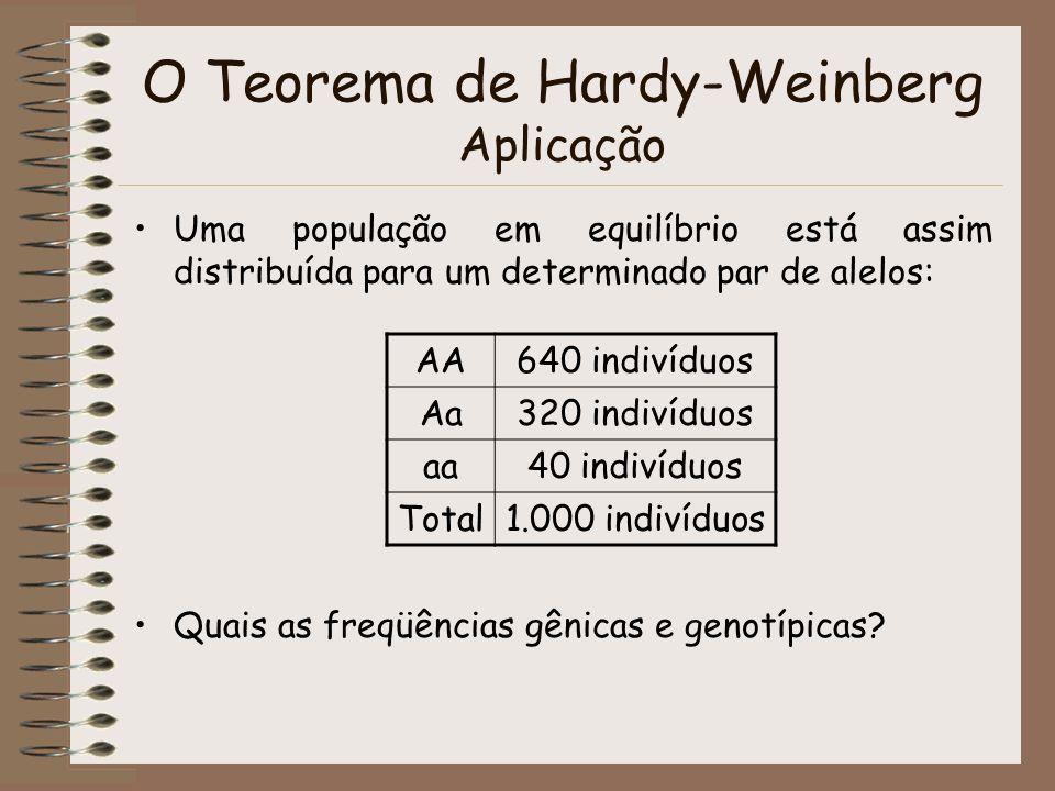 O Teorema de Hardy-Weinberg Aplicação Uma população em equilíbrio está assim distribuída para um determinado par de alelos: Quais as freqüências gênic