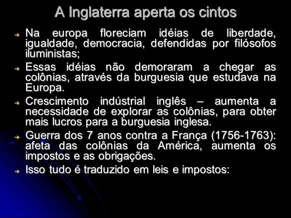 A Inglaterra aperta os cintos Na europa floreciam idéias de liberdade, igualdade, democracia, defendidas por filósofos iluministas; Na europa florecia